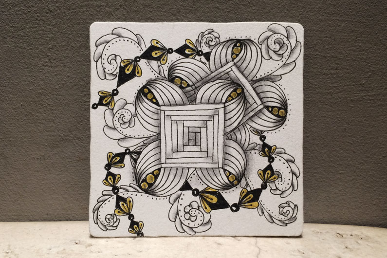 zentangle, zenuari2017, tangle, ink, diamond drops, fricle, loop