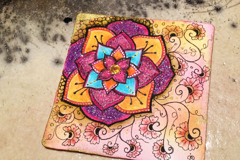 zenatngle, zenuari, tangle, tombow dualbrushpen, embossing, ink, henna drum, cyme