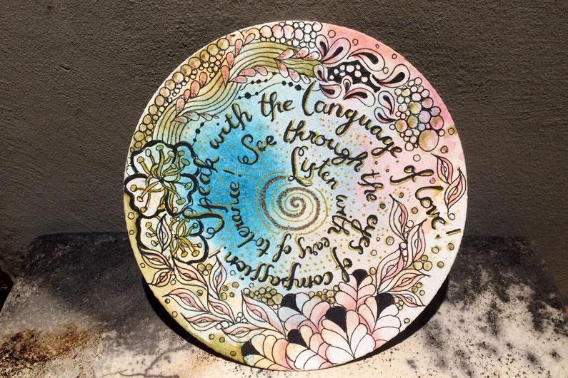 zentangle, Zendala, watercolorbackground, ink, quote, rumi, tombow dualbrushpen, tangle, aura-leah, tipple, ennies, fleavy, pippin, zenuari2017,