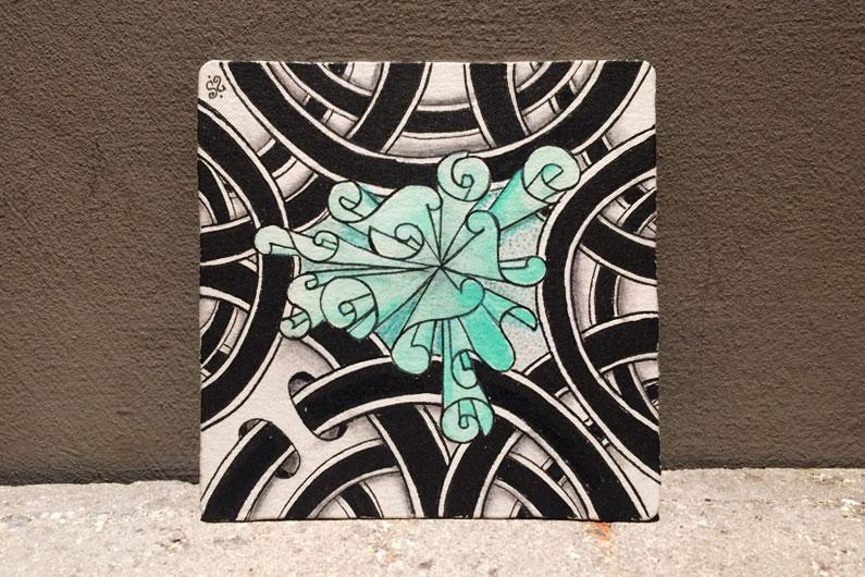 zentangle, zenuari2017, tangle, dramatangle, umble, zenplosion folds, ink, watercolor