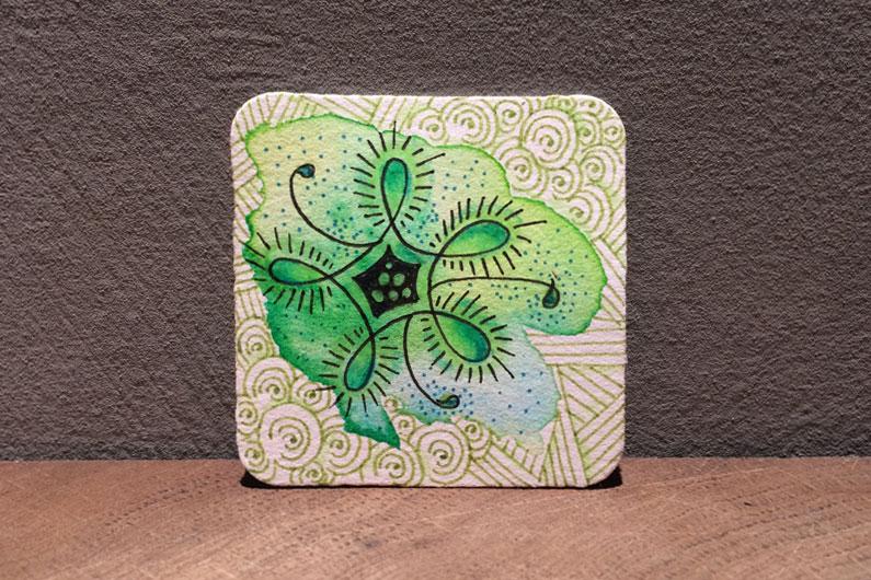 zentangle, zenuari2017, tangle, bijou tile, green, watercolor, printemps, nekton, sundoo