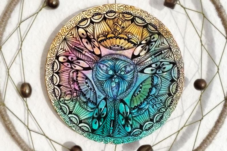 zentangle, ZIA, zenuari2017, watercolor background, dreamcatcher, abundies, tipple, henna drum. betweed, twenty-one, cayke, amaze, purk, footlites, florez